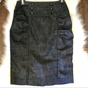 Denim Pencil Ruffle Skirt